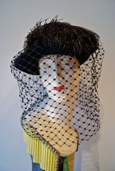 40s Hat // Vintage 1940s Black Hat with Feather and Long Veil