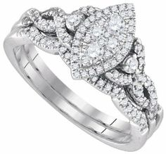 marquis shape engagement rings | Marquise-shape Cluster Womens Ladies Bridal Wedding Engagement Ring ...