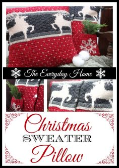 22abd6acc9 Christmas Sweater Pillows-from The Everyday Home All Things Christmas
