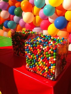 10,000 gum balls  Guess how many are in the container...winner gets a prize...and at the end of party..guests can fill up goody bags with gumballs!