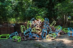 What's that you say? You're a huge fan of art that plays fast and loose with your sense of depth? Who isn't. And you're also partial to the liberal use of neon vinyl tape? Well consider your niche tastes catered for by the mind-bending work of Aakash Nihalani.