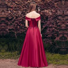 Sweet Red Satin Aline Floor-Length Off-the-shoulder Short Sleeves Lace Up Appliques Evening Gowns - OACHY The Boutique #length, #sleeves, #oachy, #satin, #boutique
