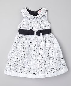Look at this #zulilyfind! White & Black Bow Party Dress - Infant, Toddler & Girls by Caldore #zulilyfinds