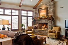 Stone fireplace with wood beam corner Corner Stone Fireplace, Cozy Fireplace, Fireplace Ideas, Dark Wood Trim, Cute House, Home Alone, Wood Beams, Dream Rooms, Fireplaces