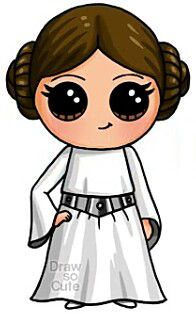 Princess Lea - Star Wars Princesses - Ideas of Star Wars Princesses - Princess Lea Kawaii Disney, Cute Disney, Kawaii Girl Drawings, Disney Drawings, Cartoon Drawings, Easy Drawings, People Drawings, Arte Do Kawaii, Kawaii Art