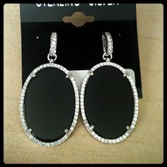 Sterling silver, crystal and Onyx earrings