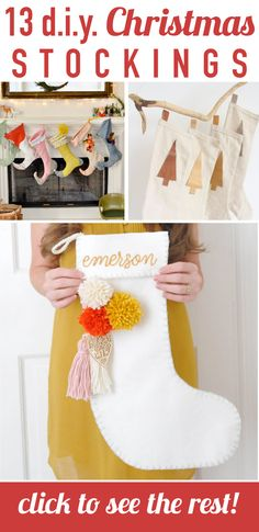 Ohhhh, yes! Love this round-up for DIY Christmas stocking ideas and creative ways to hang them. I wanted to make my own Christmas stocking, but couldn't come up with any good ideas. Going to make either number 3 or Christmas Mom, Christmas Crafts, Christmas Decorations, Holiday Decor, Seasonal Decor, Holiday Fun, Holiday Ideas, Christmas Ideas, Christmas Wreaths