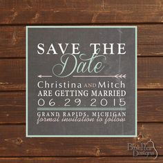 Square Chalkboard Wedding Save The Date Card  by BluePearPapers, $15.00