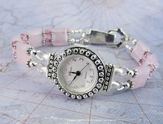 Rose Quartz and Pink Swarovski Crystal Bracelet Watch with Foldover Magnetic Clasp by mmojewelry on Etsy