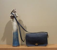 Coach Pocket Purse Navy Blue Leather with Cross Body Strap - Very Good Condition Made In USA by ProVintageGear on Etsy