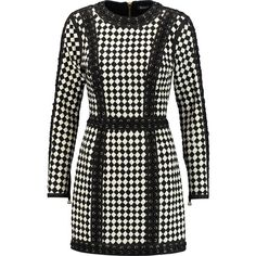 Balmain Lace-up woven leather mini dress (133.730 RUB) ❤ liked on Polyvore featuring dresses, black, stretch mini dress, lace up mini dress, balmain dress, short dresses and zip dress