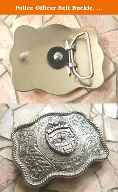 Police Officer Belt Buckle, Law Enforcement Western Silver Badge Buckle, Cop Gifts, Policeman. This stunning silver tone belt buckle features a silver toned law enforcement police emblem drilled through an etched silver tone belt buckle lightly embellished with rhinestones. The perfect gift for a police officer, police officer wife, husband, girlfriend, boyfriend or parent. It makes a great graduation gift, and is perfect for a police wedding. This buckle is also a great gift for any…