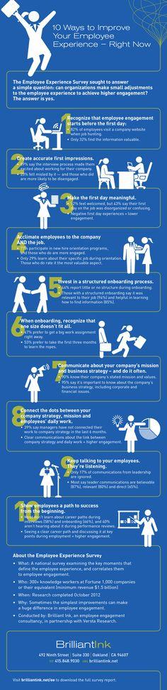 Infographic 10 Ways To Improve Employee Engagement Hcsm Health Epatient 2 Talent Management, Management Tips, Office Management, Resource Management, Business Management, How To Motivate Employees, Employer Branding, Employee Recognition, Leadership Development