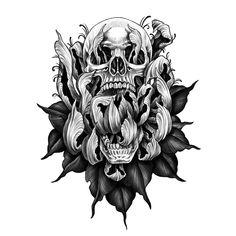 Floral Tattoo Design, Skull Tattoo Design, Tattoo Design Drawings, Tattoo Sketches, Tattoo Designs, Floral Skull Tattoos, Skull Tattoo Flowers, Flower Tattoo Drawings, Knee Tattoo