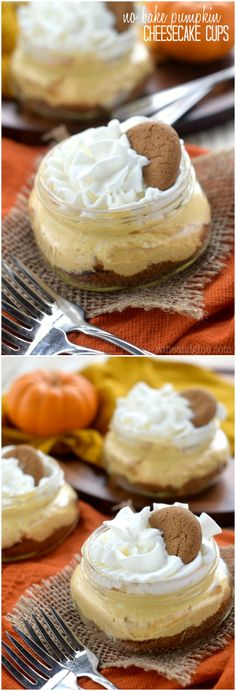 These No Bake Pumpkin Cheesecake Cups are fool proof and make such a cute and fun holiday dessert!