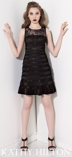 Sleeveless lace short A-line cocktail dress with illusion bateau neckline, ribbon flounce trim