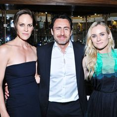 From left, actors Annabeth Gish, Demian Bichir and Diane Kruger pose during the premiere of FX Network's series The Bridge on Monday, July 8, 2013 in Los Angeles.
