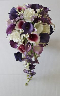 Cascade Wedding Calla Lily Bouquet Purple Bouquet Bridal