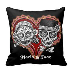 Sugar Skull Couple Pillow - Customize it! Check out these different skull designs. Custom Pillows, Decorative Pillows, Personalized Pillows, Personalized Gifts, Neue Tattoos, Day Of The Dead, Creations, Vogue, Throw Pillows