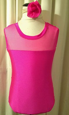 Hot Pink Leotard with Mesh Youth Small by ArrowActive on Etsy