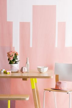 pink & yellow! fun neon yellow table leg accents against soft pink backdrop--love it!