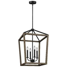 Gannet Chandelier by Feiss Lighting - Color: Wood - Finish: Antique Forged Iron / Weathered Oak - Lake Cabin Interiors, Pendant Lighting, Chandelier, Classic Lanterns, Weathered Oak, Rustic Style, Farmhouse Style, Dining Room Lighting