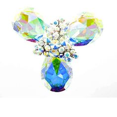 Clear Crystal on Silver Plated Gemstone Cluster Brooch