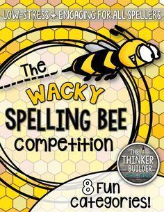 """The """"Wacky Spelling Bee"""" is a fun spelling competition, designed to be a low-stress, sillier version of a traditional spelling bee. Play in partner-teams. 8 different categories. Word lists included. Gr 2-5 ($)"""