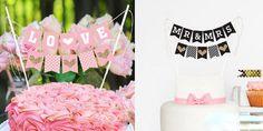 2 set of LOVE+MR&MRS Cake Topper Wedding Decoration Bunting 16033105