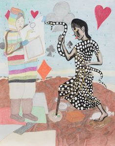 Shuvinai Ashoona and Shary Boyle, Self-Portrait, ink and coloured pencil on paper, 107 x 88 cm, private collection. Cain And Abel, Inuit Art, Pop Culture References, Canadian Art, Detailed Drawings, Adam And Eve, Mythical Creatures, Art Google, Contemporary Artists