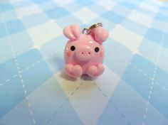 Kawaii Pink Pig Cute Polymer Clay Pendant by JollyCharms on Etsy