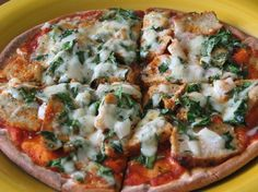Udi's GF Gruyere topped chicken, meatball and kale pizza