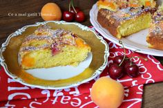 Prajitura cu caise si cirese - Retete Timea Romanian Desserts, French Toast, Deserts, Cooking Recipes, Breakfast, Cake, Food, Morning Coffee, Chef Recipes