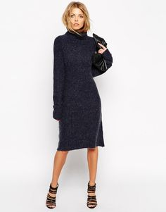 ASOS Swing Dress In Rib Knit With Turtle Neck