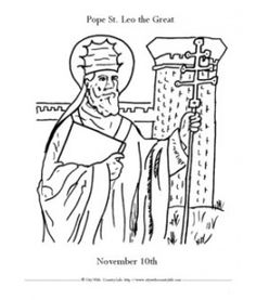 St. Leo the Great coloring sheet via Farmer's City Wife