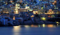 Picturesque city of hermoupolis, Syros, Greece, at dusk by Antonis Lemonakis on Mykonos, Santorini, Paros, Syros Greece, St Nicholas Church, Greek Islands, Greece Travel, View Photos, Dusk
