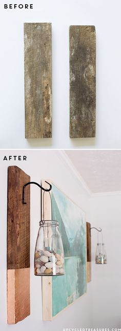 Vertical DIY Modern Rustic Wall Hanging from salvaged wood. Great decor project /// Tolle Idee für die selbstgemachte Deko: Hängende und aufbereitete Bretter.