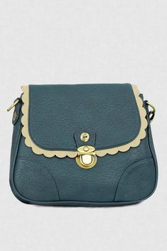 Monica Shoulder Bag by Darling UK. Love the dusty teal color and scallop  trim! 9993a5b20363e