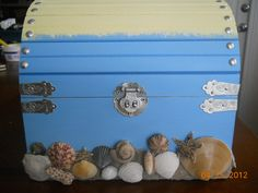 """Ombre"" Style Beach Booty Box/Treasure Chest size Large (Card Box for weddings or parties). Choose your event color(s)! Choose hardware colors (gold/silver/copper); Lock/key (5$ addt'l) Large  Xtra Large Booty Boxes come with a free gift! *split pymts. to make purchasing easier - 1/2 down deposit and other half when the job is done (after approval pics). www.Etsy.com/shop/ShellaciousGifts"
