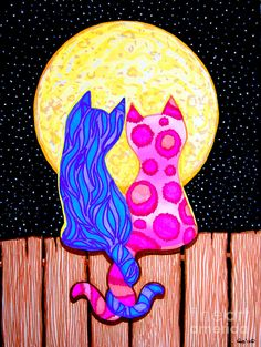 abstract acrylic paintings on canvas of cats | Cat Couple Full Moon Drawing - Cat Couple Full Moon Fine Art Print