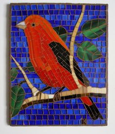 Cardinal Mosaic FCBBE by LachanceGlassMosaic on Etsy