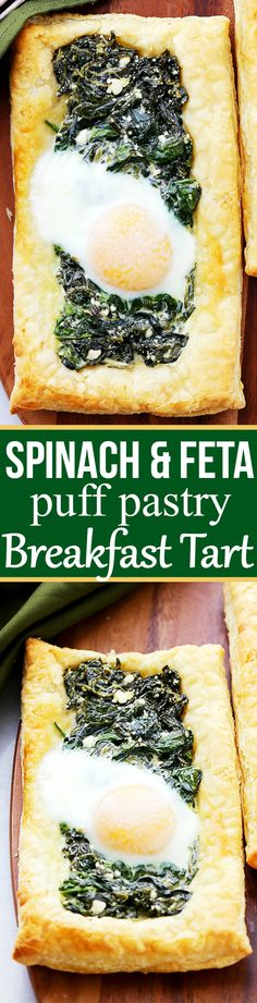 Spinach and Feta Puff Pastry Breakfast Tart Recipe – In just a few minutes of prep time, you can have this ridiculously easy, yet incredibly flavorful golden puff pastry topped with spinach, feta, and eggs. Perfect for breakfast, brunch, or even as an appetizer.