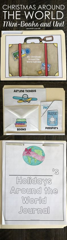 Christmas Around the World / Holidays Around the World Unit. Complete with file folder suitcase, printable readers / mini-books, passport and passport stamps, airline tickets, writing journal, and graphic organizers!