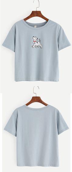 Blue Dog Print T-shirt