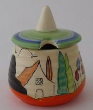 Beautiful Clarice Cliff Lidded Pot - Tulips Pattern - 1930's Art Deco