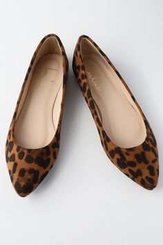 You can't go wrong with the classic style of the Lulus Holly Leopard Print Suede Flats! Vegan suede, in a chic leopard print, covers the pointed toe and low-cut collar. Slip-on design. Animal Print Flats, Leopard Print Flats, Strappy Flats, Suede Flats, Loafer Flats, Pink Flats, Black Flats, Espadrilles, Pointed Toe Loafers