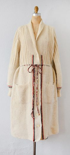 VINTAGE 1930S CREAM STRIPE KNIT SWEATER COAT // Heritage Club Sweater by Adored Vintage #1930s #30s #vintage1930s