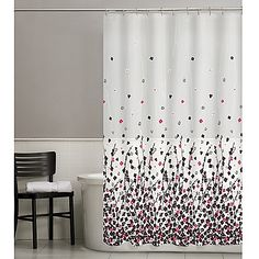 Posy Shower Curtain in Pink/Black