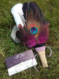 Unique Smudge Feather, Smudge Fan, shamanic, animal totem, Altars Shrines Tools, altar incense director Suede Pink Peacock Divine Feminine