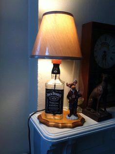 Jack Daniels liquor bottle lamp on wood base with by LampsByRick